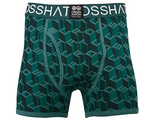 CrossHatch Herren Boxershorts Causeway, 3er Pack Green (Jasper)