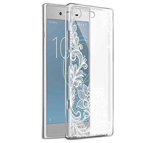 Eouine Sony Xperia XZ1 Compact Hülle, Ultra Slim Soft TPU Muster Schutzhülle Silikon Stoßfest Bumper Case Cover für Sony Xperia XZ1 Compact 4.6-inch Smartphone (Weiße Blume)