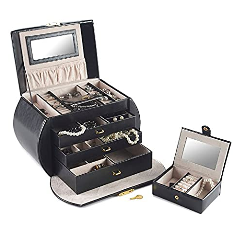 Beautify Elegant Black Jewellery Box Case with 3 Drawers and Lock