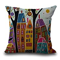 """Eazyhurry Abstract Colorful Tree House Print Linen Decorative Throw Cushion Cover Office Chair Seat Back Cushion Decorative Pillow Case 18"""" X 18"""""""