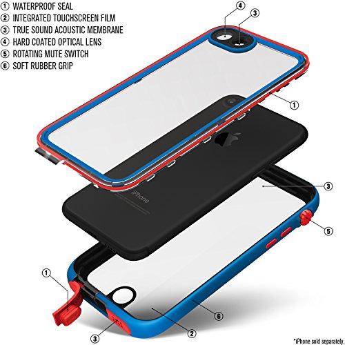 Catalyst Hülle für Apple Iphone 7 (blau/rot), wasserdicht, schockabsorbierend, mit voller Touchscreen-Funktion inkl. Touch ID blau/rot