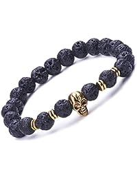 Pulsera unisex con diseño de calavera, con perlas de 9mm de piedra de lava, uniones de aleación, elástica, para terapia, yoga, meditación, color negro y dorado, de la marca Infinite U