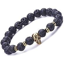 Infinite U Bracciale elastico unisex, da uomo o donna, con teschio e perle da 9 mm, in lega di pietra lavica, bracciale mala per terapia, yoga, meditazione, nero-oro