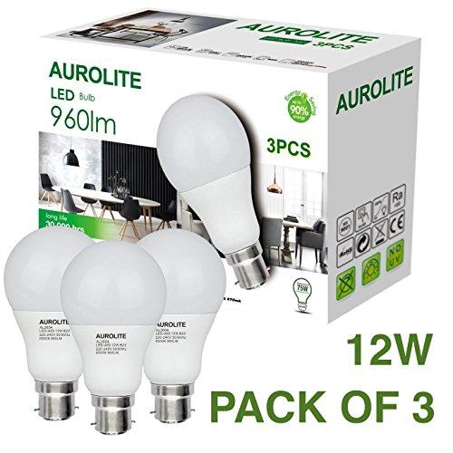 PACK OF 3 12W AUROLITE LED Bulbs, A60 12W B22 Day Light 6500K, Pack of 3, LED Bayonet Bulb, Ultra Bright 960LM, 75Watt Incandescent Bulbs Equivalent, 2 Years UK Warranty (A60 B22, 6500K)