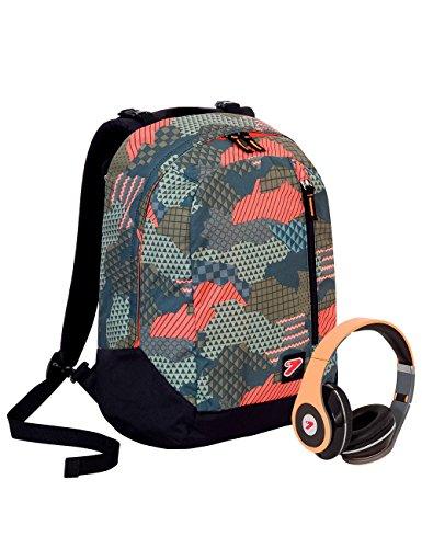 Zaino seven the double - camouflage - grigio rosso nero - cuffie stereo con grafica abbinata incluse! 2 zaini in 1 reversibile