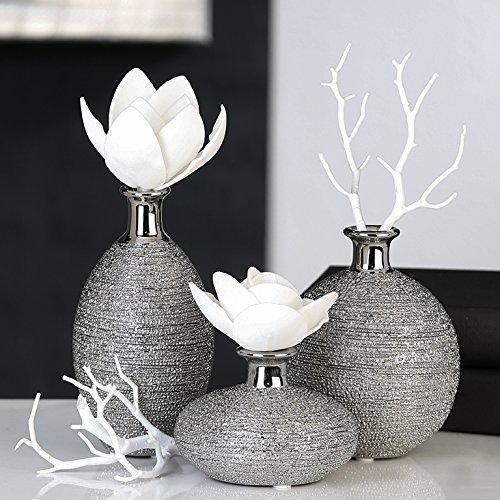 3 x Vase Miro Keramik silber Oberflächenstruktur matt/glänzend silbernem Vasenhals, Deko für Blumen