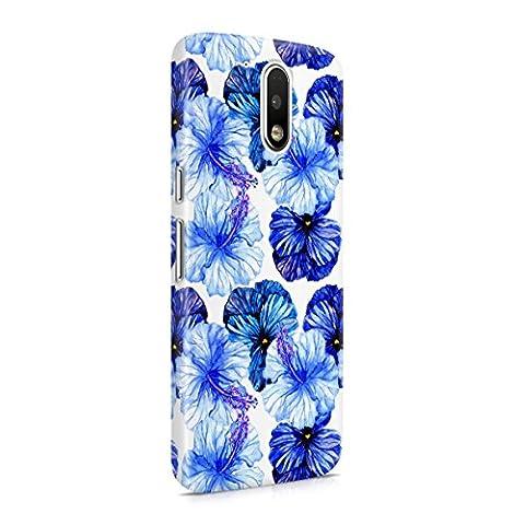 Blumen Deep Blau Pansy & Sky Blau Hibiscus Blossom Pattern Dünne Handy Schutzhülle Hardcase Aus Hartplastik Hülle für Motorola Moto G4 PLUS Case Cover