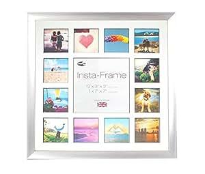 """Inov 8 16 x 16""""photo frame Insta-frame, per 13 foto, Instagram, quadrata, bianco opaco e inserto nero, paletta d'argento"""