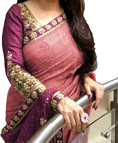 saree (Desney Fashion attractive pink color Bhagalpuri Silk fabric awesome look embroidered work perfect cut saree)