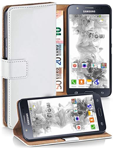 MoEx® Booklet mit Flip Funktion [360 Grad Voll-Schutz] für Samsung Galaxy J5 (2015) | Geldfach und Kartenfach + Stand-Funktion und Magnet-Verschluss, Weiß
