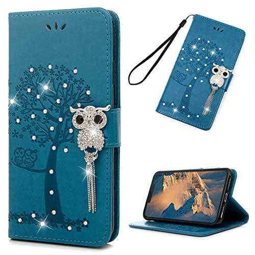 Phone CASE Home iPhone XS Max Fall 3D Kunst Bling Crystal Diamonds Leder Geldbörse Flip Case Magnetic Cover Glitzer Sparkly Owl Quaste Kartensteckplätze Ständer Schutzhülle für iPhone XS Max 6.5