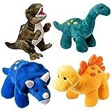 Paquete de 4 Dinosaurios de Peluche Prextex de 25,4 cm de Largo - Gran regalo para niños - Surtido de animales de peluche - Gran regalo de Navidad para niños