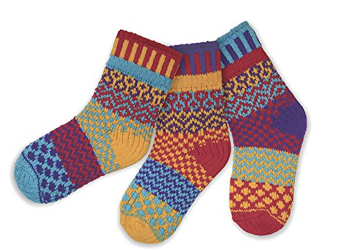 Solmate Socks - Odd or Mismatched Socks for Kids, A Pair With a Spare, Made with Recycled Cotton Yarns in USA