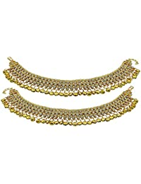 Prita's White Pearl Gold Plated Ghungroos Anklet Pair For Women
