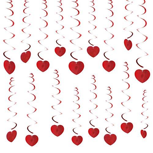 Howaf 30pcs san valentino decorazione a spirale pendenti cuore ghirlanda da appendere per festa di matrimonio, anniversario, san valentino decorazioni