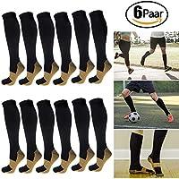 6 Paar Kupfer Kompressionsstrümpfe Socken 20-30mmHg abgestufte Unterstützung für Damen & Herren (L/XL (40-43)) preisvergleich bei billige-tabletten.eu