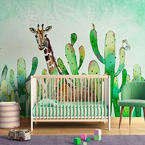 3D Non-Woven Wallpapernordic Cactus Wallpaper Bedroom Tv Background Seamless Wall Covering Green Plant Wallpaper, 400 * 280