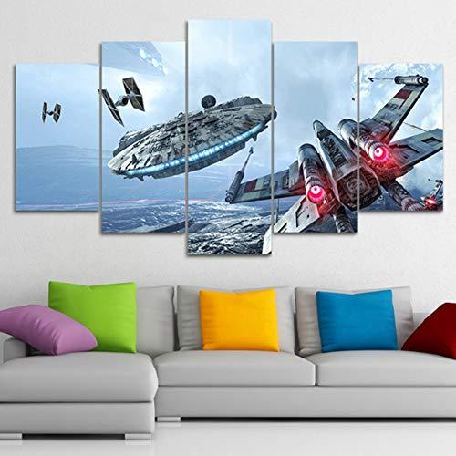 XLST HD Wandkunst Segeltuch 5 Stücke Krieg Der Sterne Film Plakate Bilder Wohnzimmer Dekor Gemälde,A,40X60X240X80X240X100X1 -