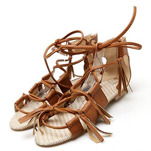 ... TAOFFEN Damen Bohemia Beach Flache Sandalen Rei?verschluss Shoes Mit  Fringe Gelb ...