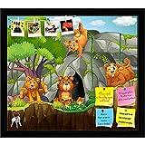 ArtzFolio Four Bears Printed Bulletin Board Notice Pin Board cum Black Framed Painting 18 x 16inch