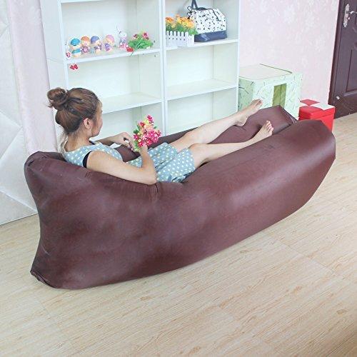 Comodo gonfiabile Lounger Air Sleeping sacchetto esterno di alta qualità, portatile Hangout ambientale di nylon tessuto di pelo di compressione Air Bag, divano Interni Esterni (cioccolato)