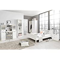 Preisvergleich für Jugendzimmer Landström 164 weiß 5-teilig Bett 140x200 Schreibtisch Bücherregal Kleiderschrank Nachttisch Landhausmöbel
