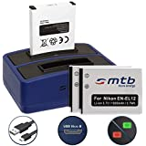 3 Akkus + Dual-Ladegerät (USB) für Nikon KeyMission 170, 360 / Coolpix A900, AW130, P340, S31, S610c, S8200, S9900 ... - siehe Liste - inkl. Micro-USB-Kabel