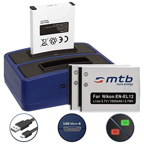 3 Batterie + Caricabatteria doppio (USB) per Nikon KeyMission 170, 360 / Coolpix A900, AW130, P340, S31, S610c, S8200, S9900 ... - vedi lista - Cavo USB micro incluso