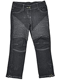 Girls Faded Black Combat Style Zip Ankle Fashion Jeans Sizes From 3 To 10 Years