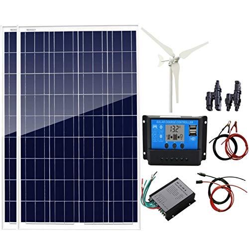 AUECOOR 300 W Hybrid-System-Kit, 100 W Windturbinen-Generator & 2 Stück 100 W polykristalline Solarpanele + 20 A Laderegler + Zubehör, hocheffizientes Modul für Wohnmobil, Boot, Off-Gitter -