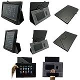 Coodio® Medion LifeTab S9714 Tablet 360 Grad Drehbar Lederhülle Tasche Cover Mit Ständer Gebaut in Handgriff - Farbe Schwarz