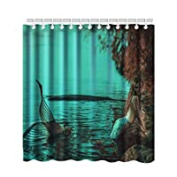 changchuan Mermaid Shower Curtain, Mermaid Seaside Raises The Classic Style Of The Fishtail, Polyester Fabric Bathroom Shower Curtain, With 12 Hooks (Cyan,) 60X72 Inch