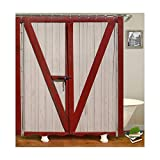 MaxAst Tür Duschvorhang Anti Schimmel, Rot Badewanne Vorhang 180x180CM, Antibakteriell Wasserdicht mit Kunststoff Ringe Kein Rost
