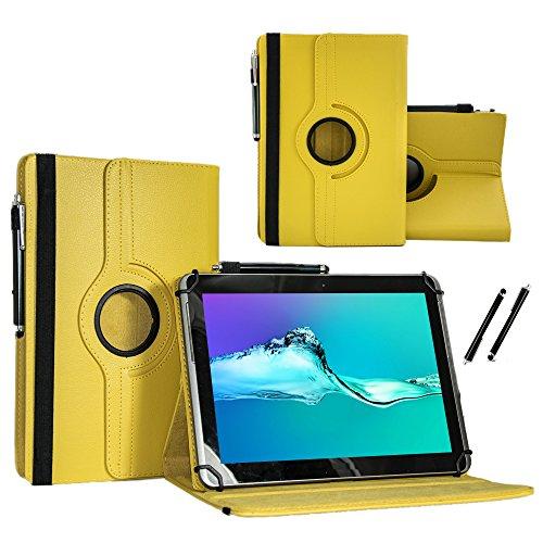 Case Cover für MEDION LIFETAB X10607 MD 60658 Tablet Schutzhülle Etui mit Touch Pen und Standfunktion - Gelb 10.1 Zoll 360˚