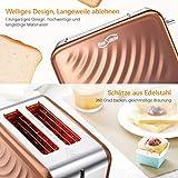 Housmile Edelstahl Toaster für 2 Brotscheiben, Frühstück Sandwichtoaster mit herausnehmbarer Krümelschublade und 6 Bräunungsstufen, abnehmbarer Brötchenaufsatz und praktische Hebefunktion, Bronze - 2