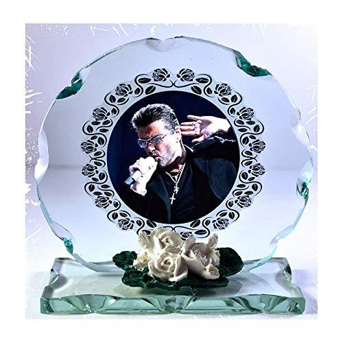 GEORGE MICHAEL Farbe Foto Schnitt Glas rund Rahmen Plaque besonderen Anlass Limited Edition