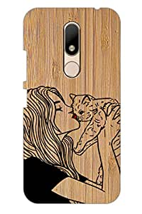 AMAN Girl with Cat 3D Back Cover for Moto M