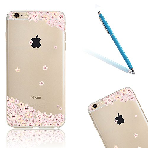"iPhone 7Plus Hüllen, 5.5"" Apple iPhone 7Plus (Nicht iPhone 7) Klar mit Muster Softcase, CLTPY Ultra Dünn Kirschblüten Malereifarbig Silikon Schale mit Bling Glitzer Diamant, [Kratzfeste] & [Stoßdämpfu Blumen"