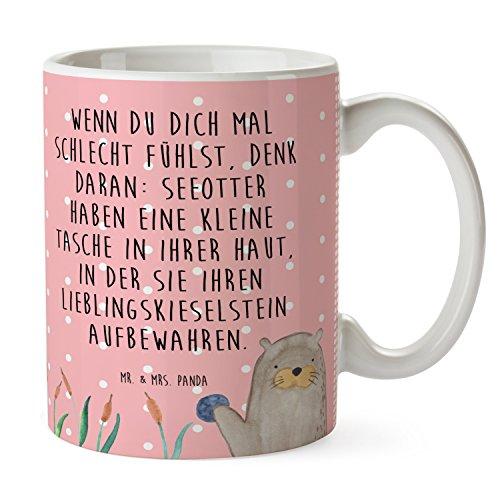 Mr. & Mrs. Panda Tasse Otter mit Stein - 100% handmade in Norddeutschland - Otter Seeotter See Otter, Cup, Frühstück, Tasse, Becher, Teetasse, Porzellan, Kaffeetasse, Geschenk, Tee, Keramik, Schenken