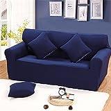 - Sofabezug für 2-Sitzer elastisch für Dekoration Haus und Wohnzimmer in Farbe Pure Schutzhülle Schutz der Möbel für 2Sitze, marineblau, 2-Sitzer