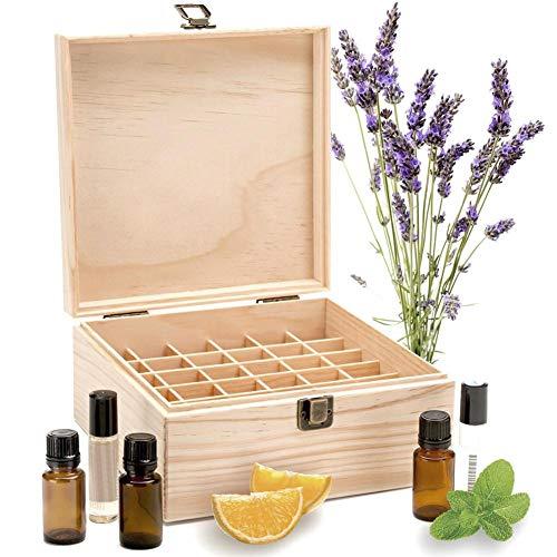 ef29a3201a31 Enjoyyouselves 25 Slot Wooden Essential Oil Box/Case Roller Bottles  Aromatherapy Organizer Perfetto per Viaggi e presentazioni di Oli  Essenziali (5 ml ...