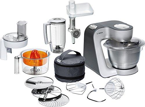 Bosch-MUM56340-Kchenmaschine-Styline-MUM5-900-Watt-Edelstahl-Rhrschssel-Durchlaufschnitzler-Rhr-Schlagbesen-und-weiteres-Zubehr-silber