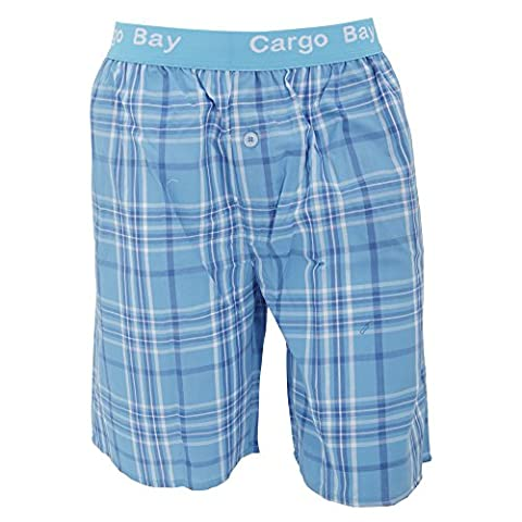 Cargo Bay Mens Woven Plaid Pattern Pyjama Shorts With Jacquard Waist (Medium (Waist: 32-34inch, 81-86cm))
