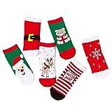 6 Paar Unisex Weihnachten Xmas Santa Kleinkind Middle Tube Socken Set für Baby Jungen Mädchen Größe M