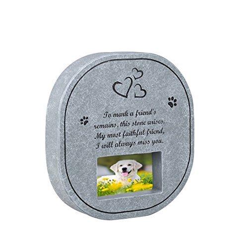 UEETEK Pet Gedenkstein Grabstein mit Wasserdicht Bilderrahmen, Gedenkstein für Verlust von Hund Oder Katze