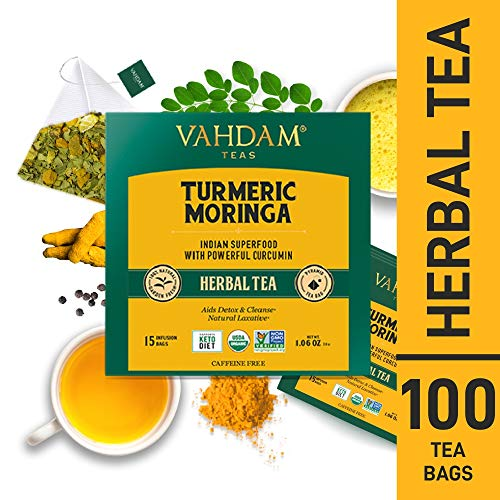 VAHDAM, Turmeric + Moringa SUPERFOOD Herbal Tea, 100 Count | India's Ancient Medicine Blend of Turmeric & Garden Fresh Spices | Turmeric Tea Bags | Herbal Tea Bags | Detox Tea | Herbal Tea 100 Count