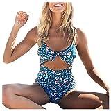 Fuibo Women Bikini Summer Beach Bohemia Style < Women Bikini Printing Swimwear Push-Up Padded Conjoined Swimsuit > Bra Swimsuit Swimwear Monokini (M, Blue)