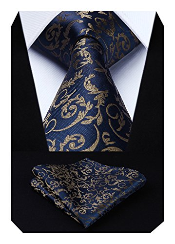 HISDERN Extra lange Blumen Paisley Krawatte Taschentuch Herren Krawatte & Einstecktuch Set Braun und Marineblau
