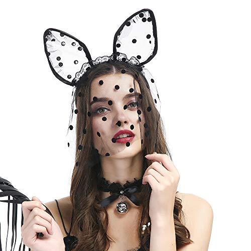 Spitzenschleiermaske Katzenohren Kleid Up Stirnband Party Supplies für Nachtclubs Maskerade Weihnachten Ostern