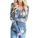 BHYDRY Frauen V-Ausschnitt Langarm Blumen Printed Bluse Casual Tops T-Shirt Tops(L,Blau)